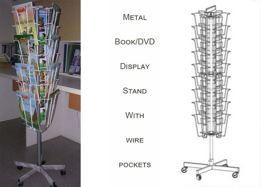 3 Sides Iron Wire Metal Book Display Stand For Magazines And Books Customized Size