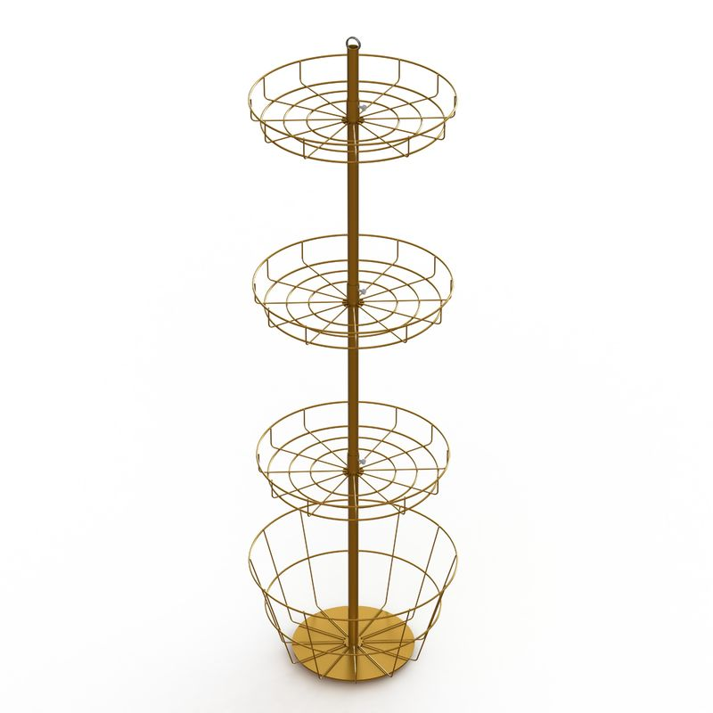 Toy Metal Baskets Display Rack Round Wire Shelves Spinner Floor Display Stand